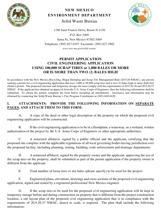 """""""Application for Large Civil Engineering Application Permit"""" - New Mexico Download Pdf"""