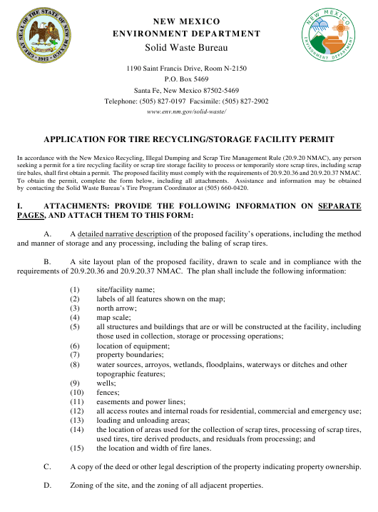 """Application for Tire Recycling/Storage Facility Permit"" - New Mexico Download Pdf"
