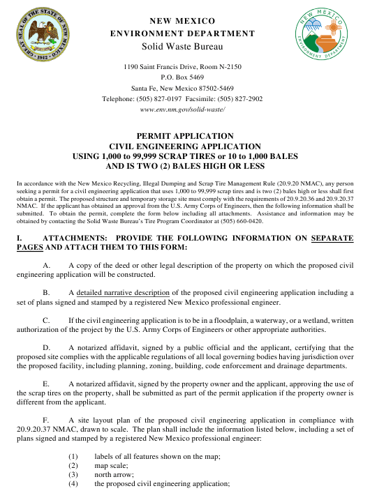 """""""Application for Medium Civil Engineering Application Permit"""" - New Mexico Download Pdf"""