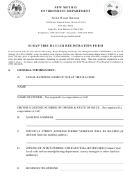 """Scrap Tire Hauler Registration Form"" - New Mexico"