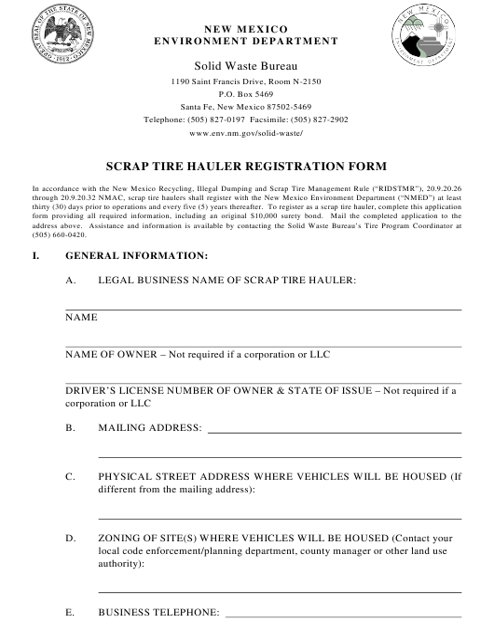 """Scrap Tire Hauler Registration Form"" - New Mexico Download Pdf"