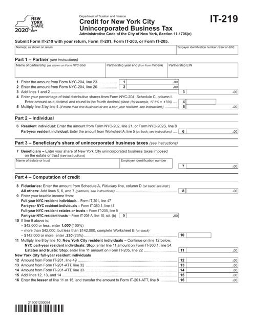 Form IT-219 2020 Printable Pdf