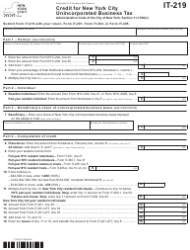 """Form IT-219 """"Credit for New York City Unincorporated Business Tax"""" - New York"""