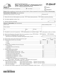 """Form IT-204-IP """"New York Partner's Schedule K-1"""" - New York"""