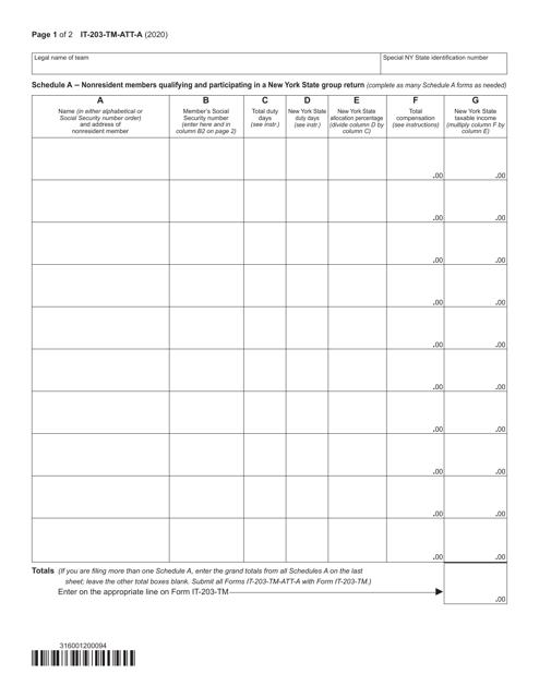 Form IT-203-TM-ATT-A Schedule A 2020 Printable Pdf