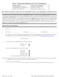 """Re-application for Non-standard Test Accommodations (Nta)"" - New York"