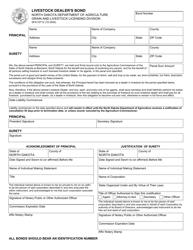 "Form SFN53712 ""Livestock Dealer's Bond"" - North Dakota"