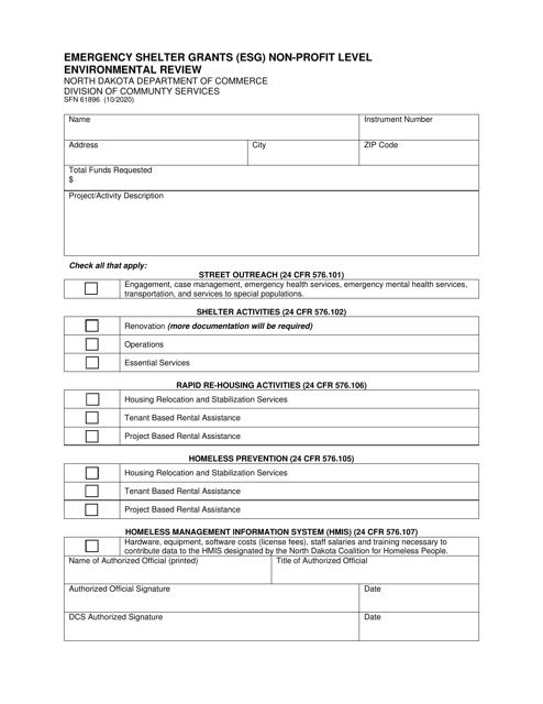 Form SFN61896  Printable Pdf