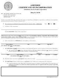 """SOS Form 0015 """"Amended Certificate of Incorporation (Oklahoma Not for Profit Corporation)"""" - Oklahoma"""