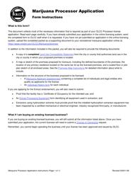 "Form MJ17-3020 ""Marijuana Processor Application"" - Oregon"