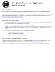 "Form MJ17-4020 ""Marijuana Wholesaler Application"" - Oregon"