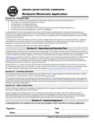 "Form MJ17-4020 ""Marijuana Wholesaler Application"" - Oregon, Page 3"