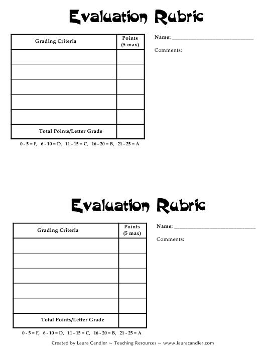 """Evaluation Form - Laura Candler"" Download Pdf"