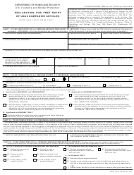 CBP Form 3299 Declaration for Free Entry of Unaccompanied Articles