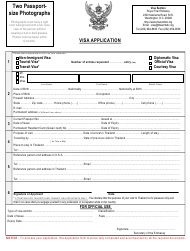 """Thai Visa Application Form - Royal Thai Embassy"" - Washington, D.C."