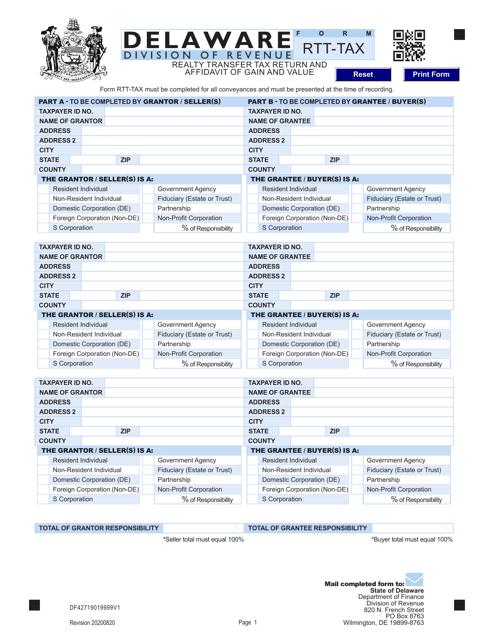 Form RTT-TAX  Printable Pdf