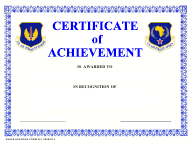 """USAFE-AFAFRICA Form 221 """"Certificate of Achievement"""""""