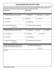 "15 WG Form 23 ""Toda Designation and Data Form"""