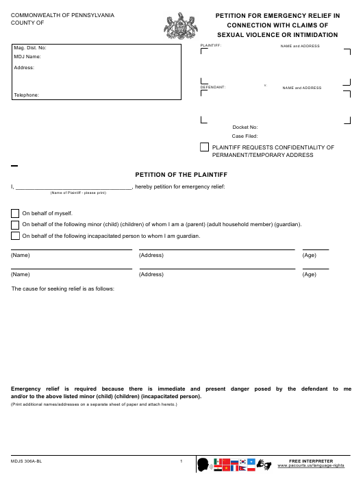 Form Mdjs306a Bl Download Fillable Pdf Or Fill Online Petition For Emergency Relief In Connection With Claims Of Sexual Violence Or Intimidation Pennsylvania Templateroller