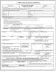 "Form PFBC-500 ""Application for Permit Special Activities"" - Pennsylvania"