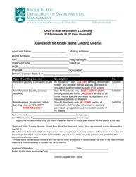 """Application for Rhode Island Landing License"" - Rhode Island"