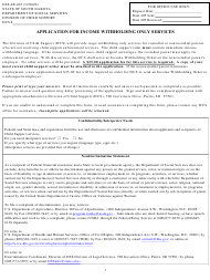 """Form DSS-SE-405 """"Application for Income Withholding Only Services"""" - South Dakota"""