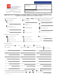 """Form LB-0936 """"Application for Permission to Install a Boiler or Pressure Vessel (Lethal Service)"""" - Tennessee"""