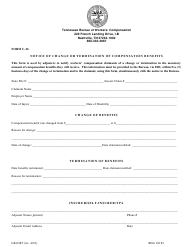 """Form C-26 (LB-0285) """"Notice of Change or Termination of Compensation Benefits"""" - Tennessee"""