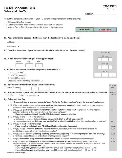 Form TC-69 Schedule STC Printable Pdf