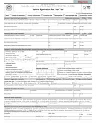 "Form TC-656 ""Vehicle Application for Utah Title"" - Utah"