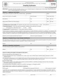 "Form TC-842 ""Disability Certification"" - Utah"
