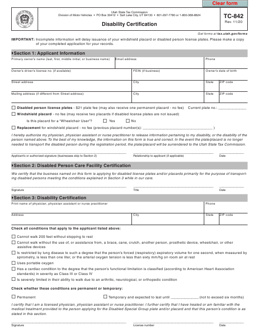 Form TC-842 Printable Pdf