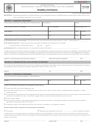 "Form TC-842 ""Disability Certification"" - Utah"