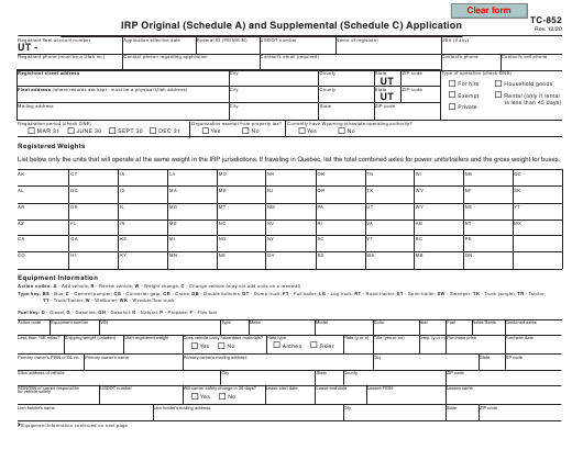 Form TC-852 Printable Pdf