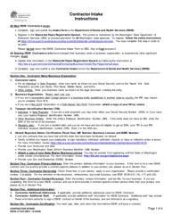 "DSHS Form 27-043 ""Contractor Intake"" - Washington"