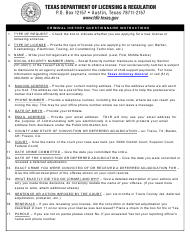 "TDLR Form ENF001 (LIC002) ""Criminal History Questionnaire"" - Texas"