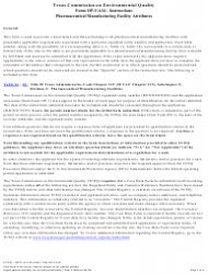 """Form OP-UA34 (TCEQ-10291) """"Pharmaceutical Manufacturing Facility Attributes"""" - Texas"""