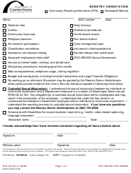 "Form DOC02-370 ""Reentry Orientation"" - Washington"