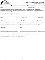 "Form DOC02-374 ""Personal Property Disposal"" - Washington"