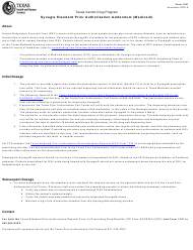 "Form 1321 ""Synagis Standard Prior Authorization Addendum (Medicaid)"" - Texas"