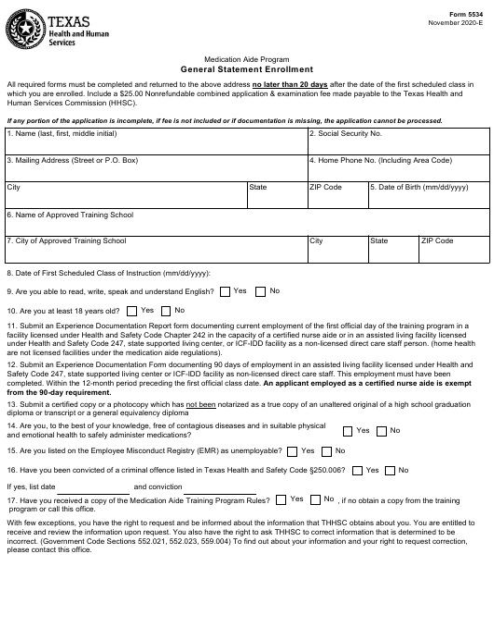 Form 5534  Printable Pdf