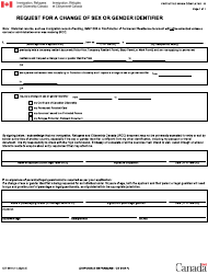 "Form CIT0404 ""Request Form for a Change of Sex or Gender Identifier"" - Canada"