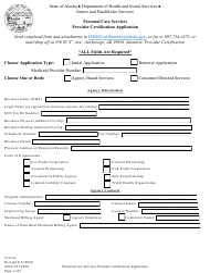 "Form CERT-36 ""Personal Care Services Provider Certification Application"" - Alaska"