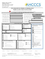 """Fee-For-Service Prior Authorization Medical Documentation Form"" - Arizona"