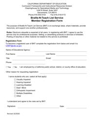 """Braille-N-teach List Service Member Registration Form"" - California"