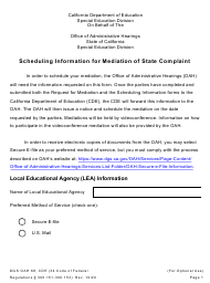 """Scheduling Information for Mediation of State Complaint"" - California"