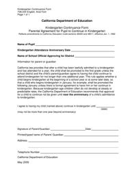 "Form T08-244 ""Kindergarten Continuance Form"" - California"