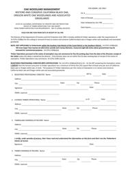 "Form RM-73 (1038(E)) ""Oak Woodland Restoration Exemption Form"" - California"