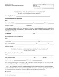 """Licensed Timber Operator Responsibility Acknowledgement"" - California"