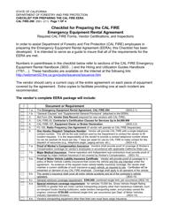 "Form CAL FIRE-290 ""Checklist for Preparing the Cal Fire Emergency Equipment Rental Agreement"" - California"